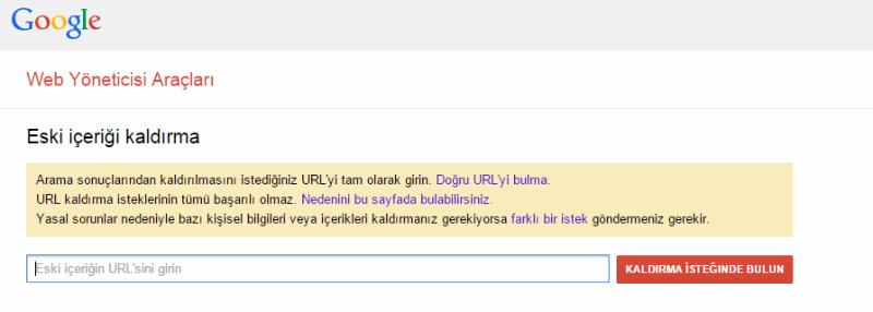 Google'da İndexlenen Sayfayı Kaldırma