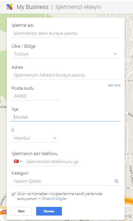 Google Haritalar Bilgi Ekleme Alanı