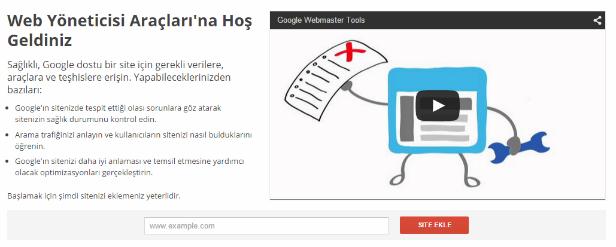 Webmaster Tool Site Ekleme Alanı