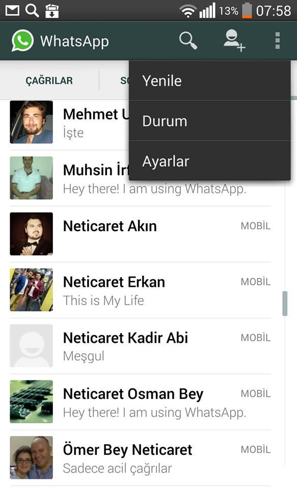 whatsapp uygulaması ayarlar