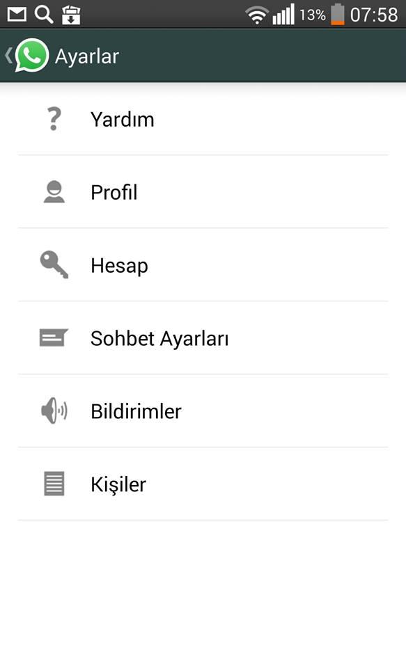 whatsapp hesap ayarları
