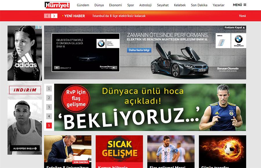 Hürriyet'de Remarketing Kullanılarak Gösterilen Adidas Reklamı