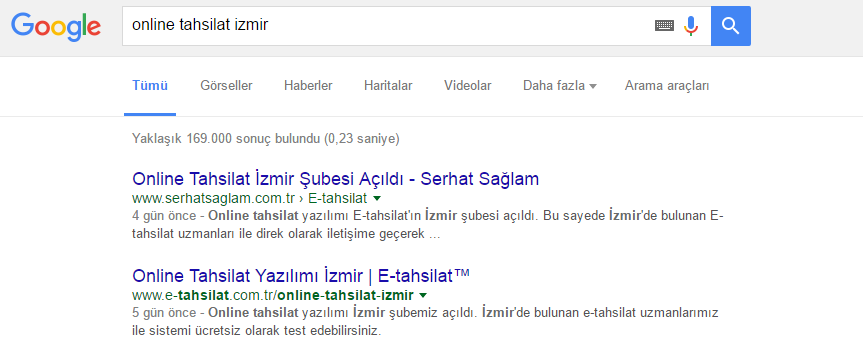 Online Tahsilat İzmir Google Sonucu
