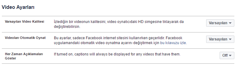 Facebook Video Ayarları