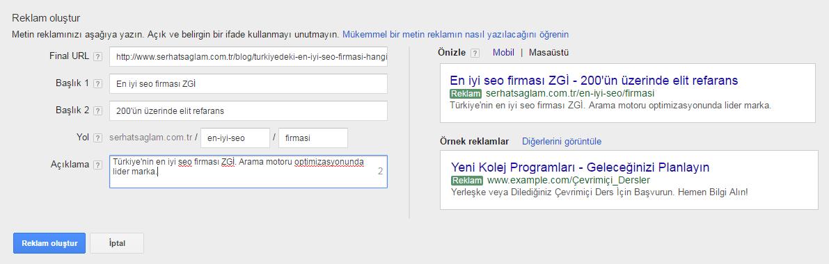 Google Adwords Reklam Ayarlamaları