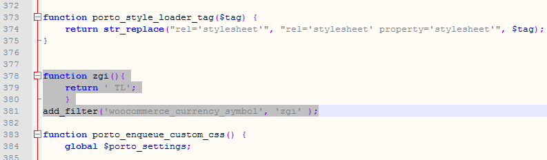 Wocommerce TL Simgesi Dönüştürme Kodu