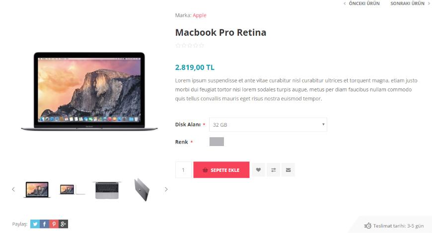 E-ticaret Sitesi Örnek ürün Sayfası