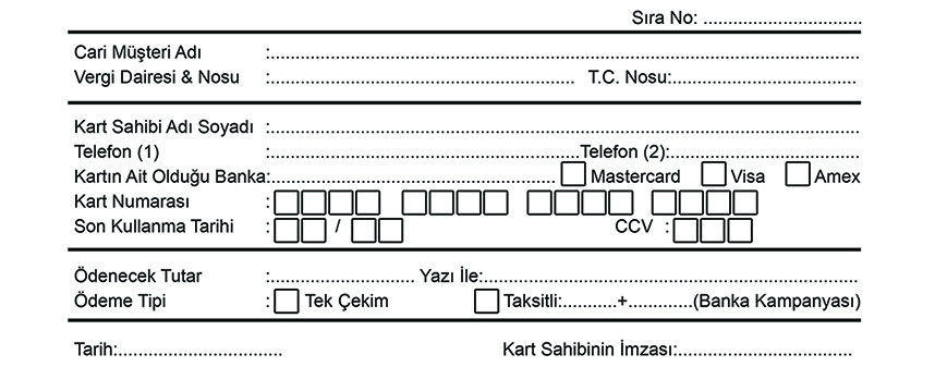 Mail Order Form Örneği